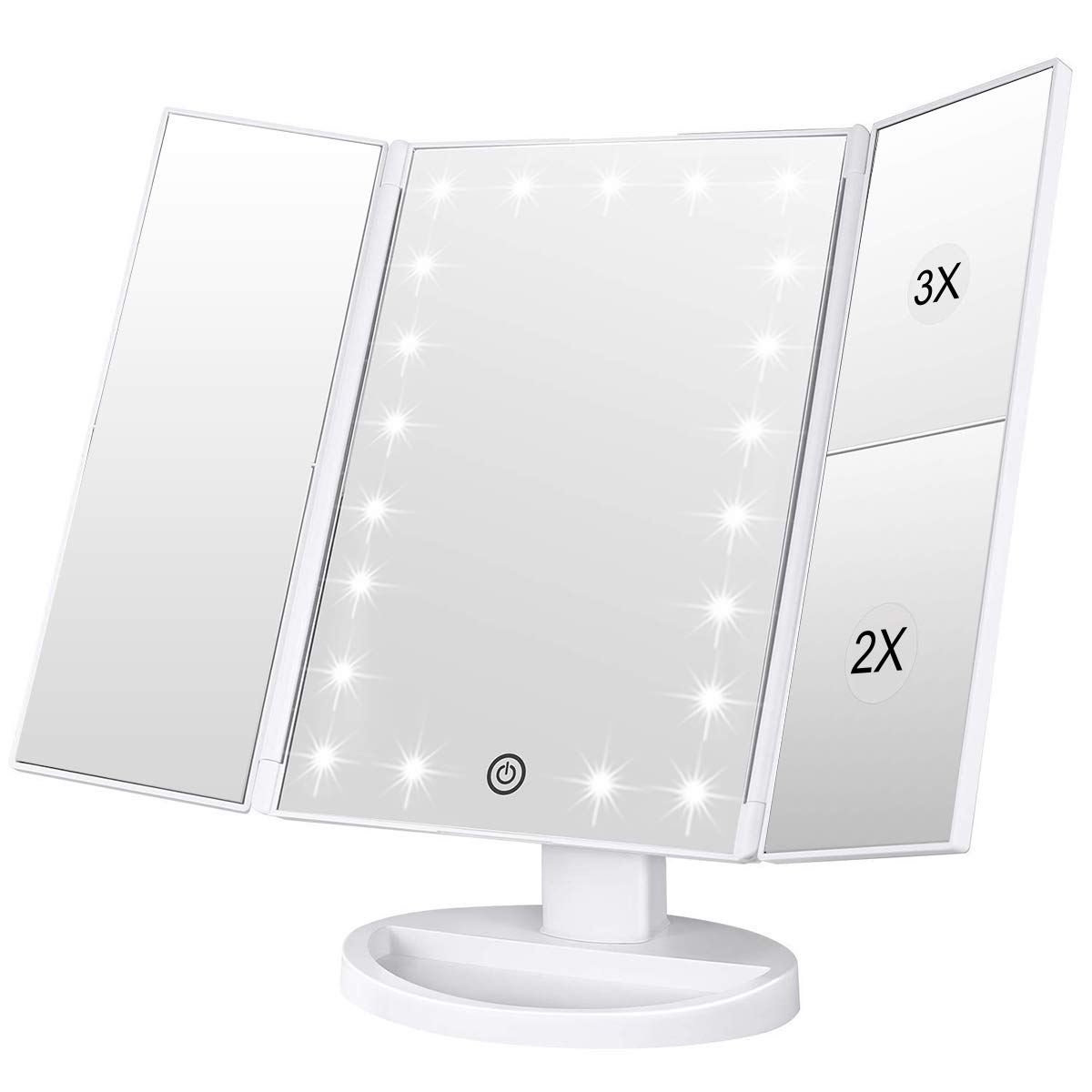Lighted Makeup Mirror, Tri-fold Vanity Mirror with 3X/2X/1X Magnification,21 Natural LED Nights and Touch Screen, Batteries and USB Power Supply Adjustable Tabletop Cosmetic Mirror (White) by WEILY
