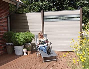 Terrasso Wpc Bpc Sichtschutzzaun Bi Color Weiss 2 Zaune Inkl 3
