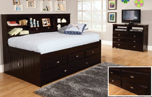 Twin Daybed with 3 Drawers and Trundle, Desk, Hutch, Chair and Entertainment Dresser in Espresso Finish by Discovery World Furniture (Image #4)