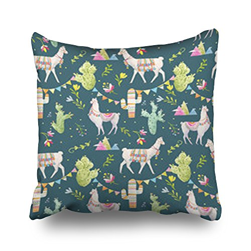 Sneeepee Throw Pillows Covers Design Watercolor Pattern Tibetan Llama Cacti Flags Lama Cactus Design Square 16 x 16 Inches Decorative Pillowcase Home Decor Sofa Pillow Cushion Cases