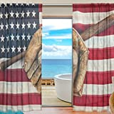 SEULIFE Window Sheer Curtain, American USA Flag Baseball Voile Curtain Drapes for Door Kitchen Living Room Bedroom 55x78 inches 2 Panels