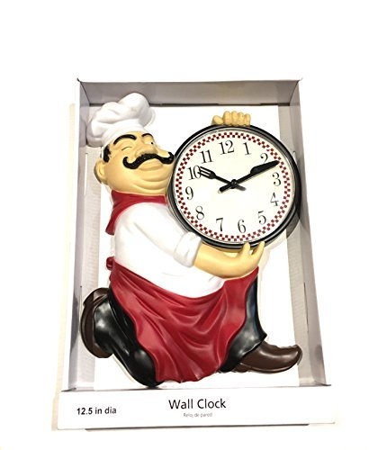 Fat Chef Holding Knife & Fork Wall Clock 12.5