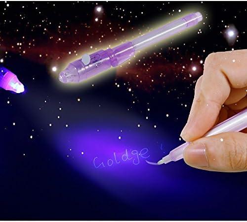GOLDGE 7 Stück UV- Geheimstifte,Geheim Stift,unsichtbar schreiben,lesbar durch Licht,geheimstift Kinder