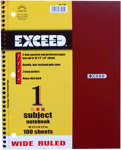 Norcom Exceed Wide Ruled Notebook, 10.5 x 8.5 Inches, 100-Count, 1 Notebook per Order, Assorted Colors (77581-12)
