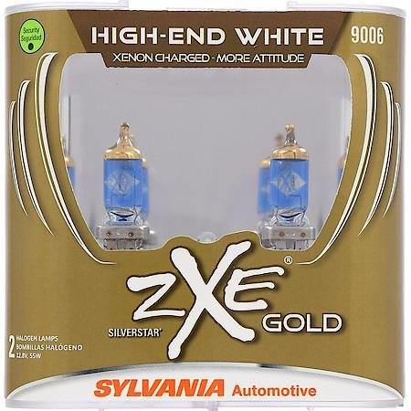 SYLVANIA - 9006 (HB4) SilverStar zXe GOLD High Performance Halogen Headlight Bulb - Headlight & Fog Light, Bright White Light Output, Best HID Alternative, Xenon Charged Technology (Contains 2 -