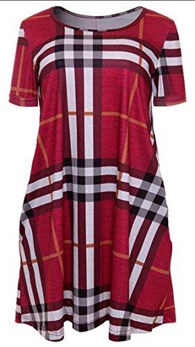 4 Sleeve Plaid Jaycargogo Swing Round Women Dress With Pocket Short Neck UPnvx