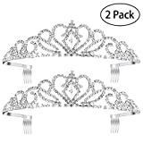 Pixnor 2Pack Princess Tiara with Comb, Crystal Rhinestones Wedding Bridal Tiara Headband