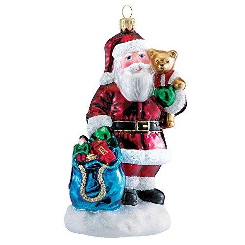 Kurt Adler Polonaise Glass Bear in Mind Ornament, 5.9-Inch