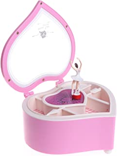 Koehope Schmuckkästchen in Herzform, Tanzende Ballerina-Spieluhr für Mädchen, Karussell, Geschenk, Plastik, Rose, 14x10.5x6.3cm / 5.51'x4.13'x2.48'