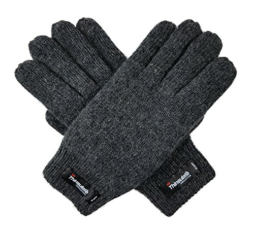 Bruceriver Womens Pure Wool Knitted Gloves with Thinsulate Lining and Rib Cuff