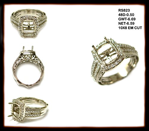 (10x8mm Emerald Cut 14k Yellow Gold and White Diamond Halo Semi-mount Split Shank (10002AN) )