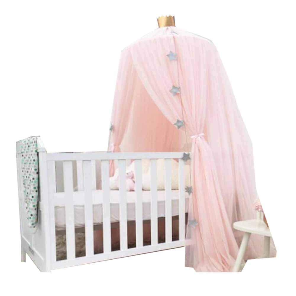 POPPAP Girl Canopy, Princess Bed Dome Canopy Hanging Mosquito Net for Girls Kids Baby Crib Pink Color