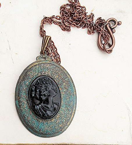 - Large Black Cameo in Verdigris Patina Brass Setting on Copper 20