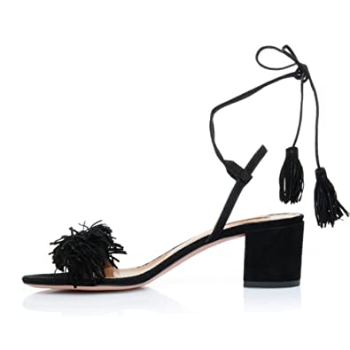 6d8364e05ae3dc Comfity Block Heels for Women Women s Lace Up Sandals Fringed Tassel Shoes  Ankle Ties Dress Sandals