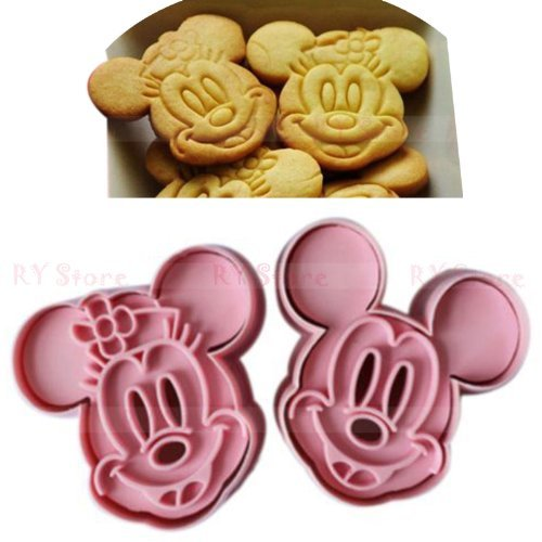 (1 Set Cute Mickey Mouse Design Baking Cookie Fondant Cake SugarCraft Biscuit Chocolate Clays DIY Modelling Paste Decorating Plunger Cutter Pull Press Mold Tools)