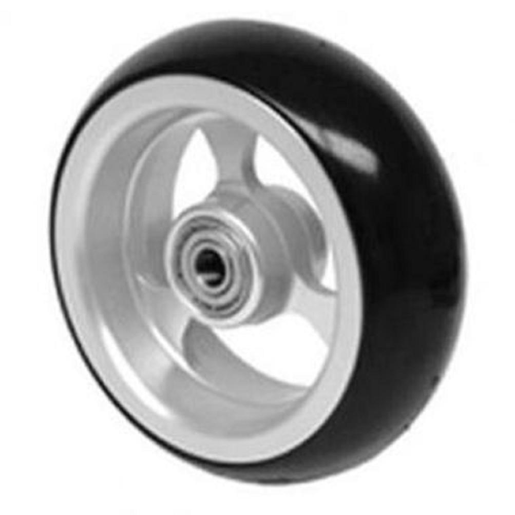 Caster Tire (1) 4 X 1-1/2 Inch, Frog Legs, Aluminum 3-spoke, Black Soft-roll Tire, 5/16 Inch Bearing, 1 Inch Hub for Powerchair Wheelchair