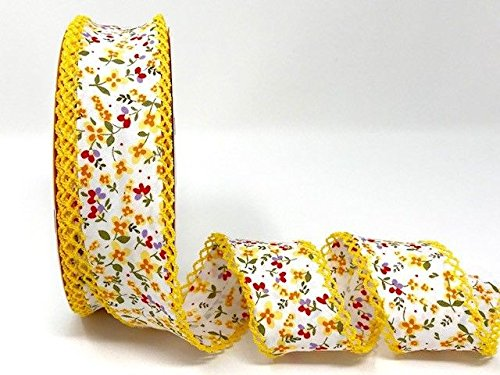 Byetsa Yellow Floral Double Lace Edge 36mm Bias Tape on a 25m Roll by Byetsa