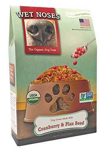 Wet Noses All Natural Dog Treats, Made In Usa, 100% Usda Certified Organic, Non-Gmo Project Verified, Cranberry & Flaxseed, 14 Oz ()