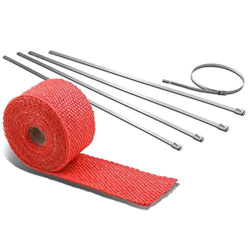 15-Feet Red Exhaust Heat Wrap+Silver Zip Tie for Header/Catback/Turbo Manifold/Downpipe