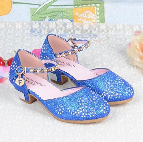 Kid Girls' Sandals Heels Party DressPrincess Shoes Glitter Mary Janes (9 M US Toddler, Blue) by Wangwang (Image #2)