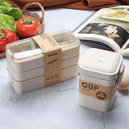 Fiambrera portátil de Material Saludable de 900 ml Cajas bento de Paja de Trigo de 3 Capas Vajilla para microondas Contenedor de Almacenamiento de Alimentos Foodbox - D Set