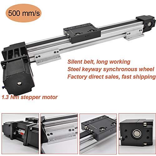 High Speed 300 MM 12 INCH Stroke Belt Drive Linear Guide Rail Motion Slide Actuator Module +Nema23 Motor for CNC Linear Position ()