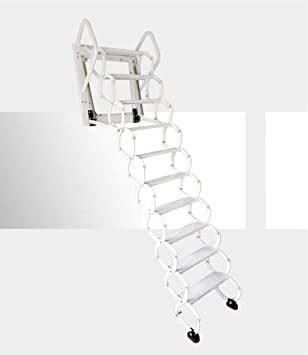 INTBUYING Home - Escalera plegable de pared, color blanco: Amazon.es: Bricolaje y herramientas