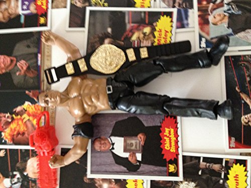 WWE Titan Tron Live The Rock Action Figure Loose With Belt & Lot of 10 Wrestling Trading Cards & Accessories