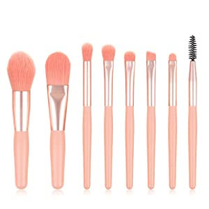 Professional Premium SyntheticBlending Foundation Powder Concealers Eye Shadows Makeup brushes Set & 2 Blender Sponge (Pink-8)