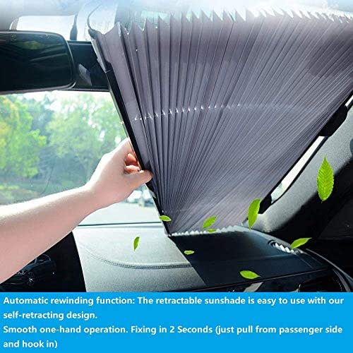 ECFAC Car Windshield Sun Shade, Retractable Sun Shade, Easy to Install and Use, Universal Car Sun Shades Keep Your Vehicle Cool