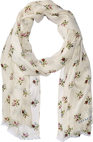 COACH Women's All Over Rose Buddies Oblong Scarf Chalk One Size by Coach