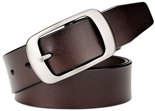 WERFORU Genuine Leather Belts for Men Dress Belt 36mm Wide With Square Buckle - Leather Square Buckle Belt