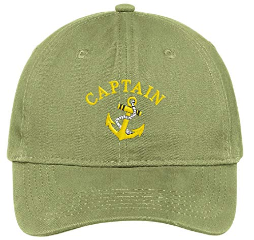 Captain with Ships Anchor Embroidered Low Profile Ball Cap - Olive Green ()