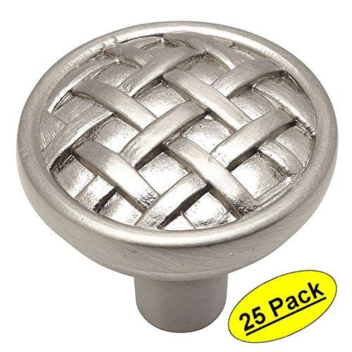 25 Pack - Cosmas 7065SN Satin Nickel Braided Cabinet Hardware Round Knob - 1-3/8