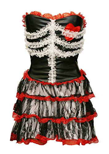 BSLINGERIE Women Skeleton-Like Pirates Strapless One Piece Dress Costume (M, Black) (Cheers And Beers Costume)