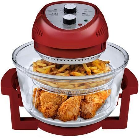 1300 Watts, Energy Efficient, 6-Quart Oil-Less Fryer, Red by Big Boss by Big Boss