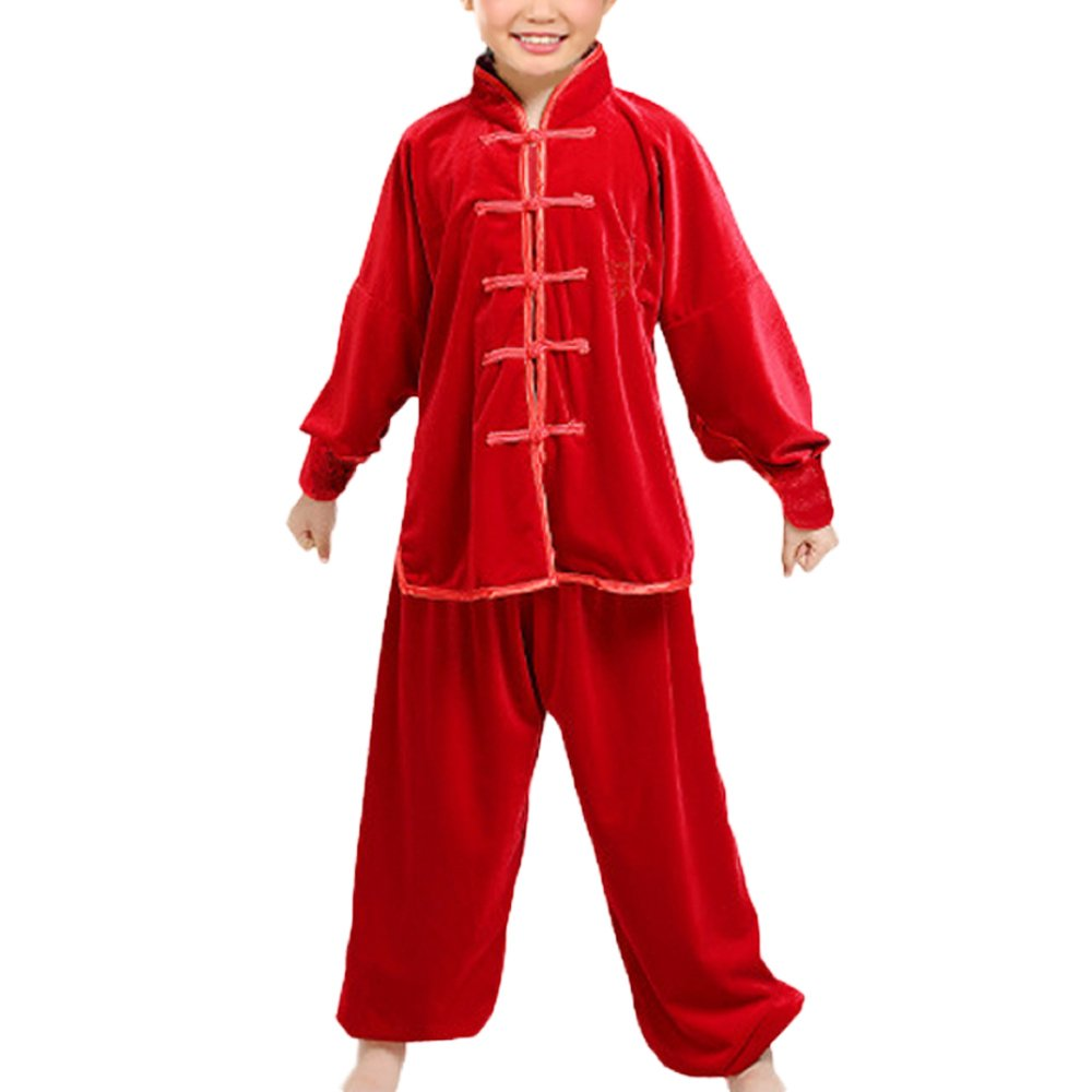 KIKIGOAL Winter Unisex Children Kids Chinese Traditional Wushu Martial Arts Uniform (150, red)