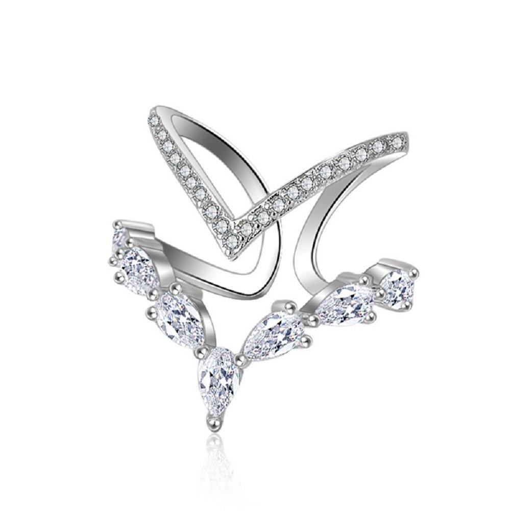 KAVANI Silver Cubic Zirconia Ring CZ V Ring Open Adjustable Heart Princess Ring for Women
