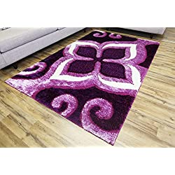 Gloria Rug Super Soft Indoor Modern Shag Rug Silky Smooth Rugs Fluffy Shaggy Area Rug - Stain Resistant Dining Room Home Bedroom Living Room Carpet (5 x 7, Purple Floral Design 1008)