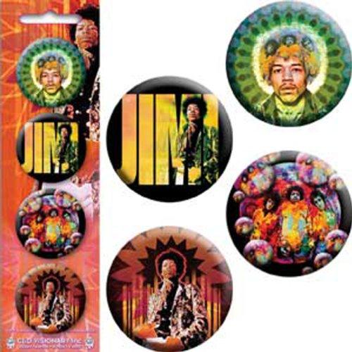 "Licenses Products Jimi Hendrix-Mastermind-JIMI-Bubbles-Guitar God 1.25"" Button Set, 4-Piece"