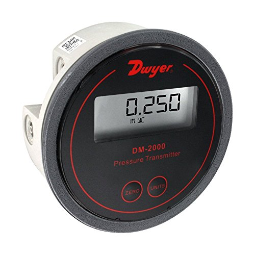 Dwyer Series DM-2000 Differential Pressure Transmitter with LCD, Black Background, 0-5