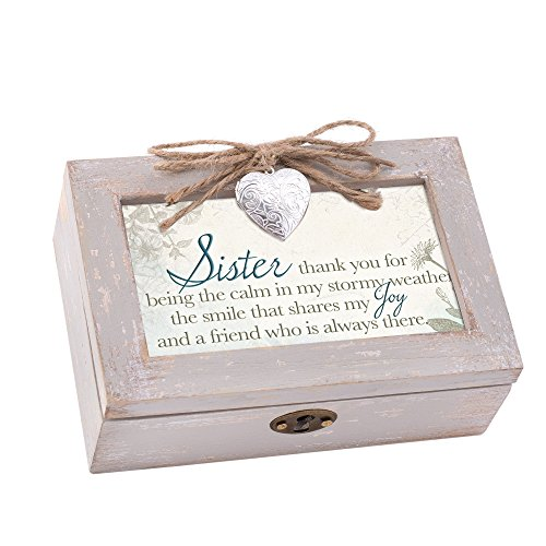 Sister My Joy and Friend Taupe Wood Locket Jewelry Music Box Plays Tune You Light Up My - Picture Locket Photo 2