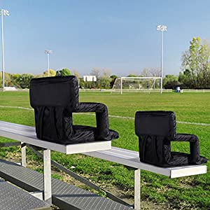 SONGMICS Stadium Seat for Bleachers 6 Reclining Positions Portable Stadium Chair with Padded Cushion Shoulder Straps for Bench by SONGMICS