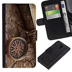 Planetar® Modelo colorido cuero carpeta tirón caso cubierta piel Holster Funda protección Para SAMSUNG Galaxy S4 IV / i9500 / SGH-i337 ( retro kompas karta oboi )