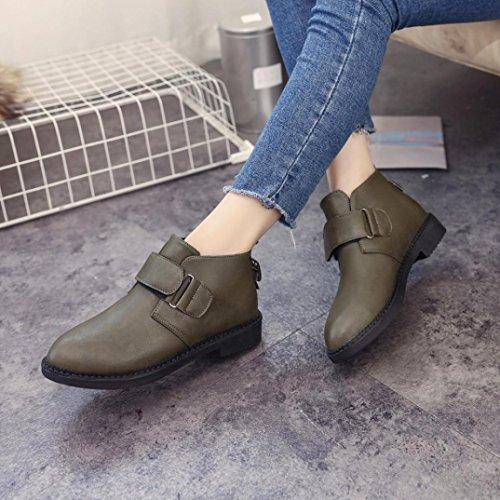 OverDose Herbst Chelsea Stiefel Frauen Knöchel Flache Ferse Martin Stiefel Retro Mode Stiefel A-Green