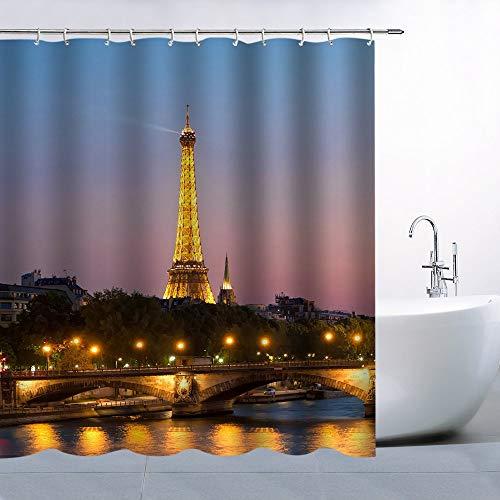 Paris Night Shower Curtain Lights Eiffel Tower Fabric Bathroom Curtain Decor Machine Washable with Hooks 40