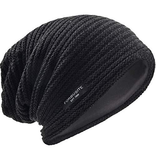 - VECRY Men's Slouchy Beanie Knit Crochet Rasta Cap for Summer Winter (Dark Grey)