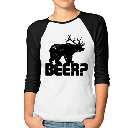Woman Retro Deer Beer Bear Funny Vintage Raglan Shirt Black Large