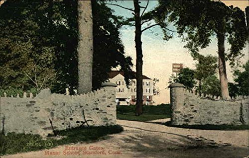 Entrance Gates, Manor School Stamford, Connecticut Original Vintage Postcard (Gate Manor Manor Gate)