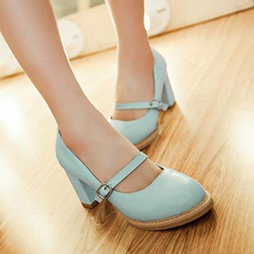 Easemax Sangle De Boucle Douce Pour Femme Bout Rond Bas Bas Moyen Chunky Chaussures Talon Chaussures Bleu